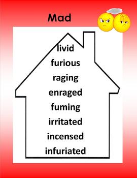 Synonyms - Words to Live By -5 Posters Red (cry, mad, mean, ugly, scare)