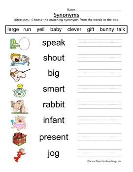 Synonyms Worksheet by Have Fun Teaching | Teachers Pay Teachers