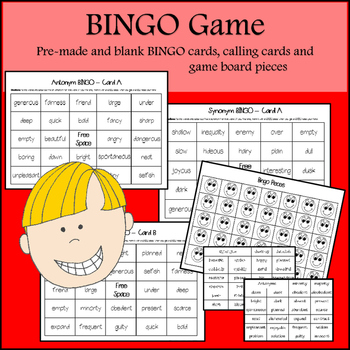 Synonyms and Antonyms Activities (Task cards, matching games & BING0)