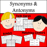 Synonym and Antonym Task cards, matching games & BING0)