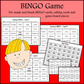 Synonym and Antonym Task cards, matching games & BING0)