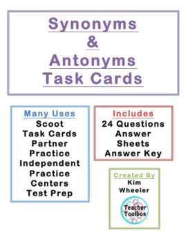 Synonyms and Antonyms 3rd Grade Scoot or Task Cards