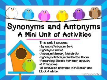 Synonyms and Antonyms: A Mini Unit {Activities & Printables}