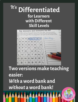 Synonyms and Antonyms Worksheets - Word Choice Worksheets / Word Search Puzzles