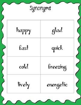 Synonyms and Antonyms Activities: pairing, identifying, word search