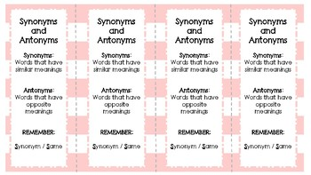 Synonyms and Antonyms Bookmarks