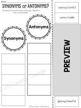 Synonyms and Antonyms: Cut and Paste Sorting Activity