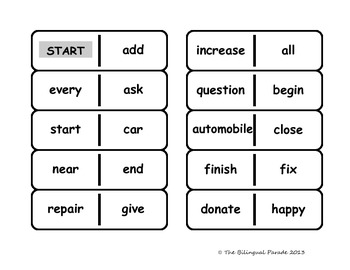Synonyms and Antonyms Dominoes Game