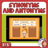 Synonyms and Antonyms Drag and Drop Digital Task Cards on