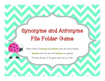 Synonyms and Antonyms File Folder Game