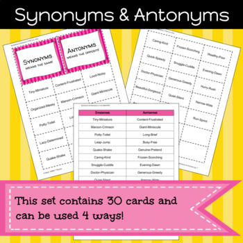 Synonyms and Antonyms Game/Sort Pack