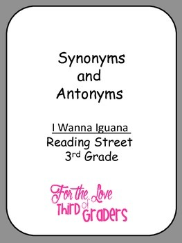 Synonyms and Antonyms I Wanna Iguana Unit 2 Reading Street 3rd Grade