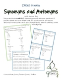 Synonyms and Antonyms IREAD Third Grade Worksheets and Task Cards
