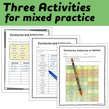 Synonyms and Antonyms Interactive Notebook and Printable Activities