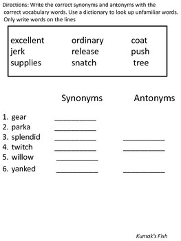 Synonyms and Antonyms Kumak's Fish with Vocabulary Words