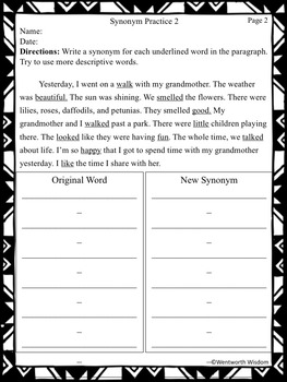 Synonyms and Antonyms Reading Lesson and No Prep Practice Worksheets