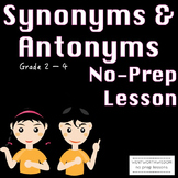 Synonyms and Antonyms Reading Lesson and No Prep Practice