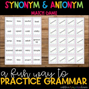 Synonyms And Antonyms Matching Game Teaching Resources Teachers