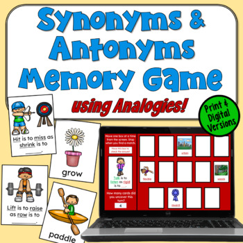 Synonyms and Antonyms Memory Game