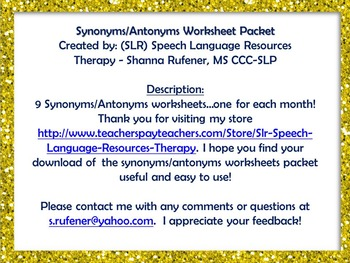Synonyms and Antonyms Monthly Themed Worksheets Packet