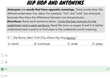 Google Forms Reading Synonyms and Antonyms Passage Activities Using Rap Song