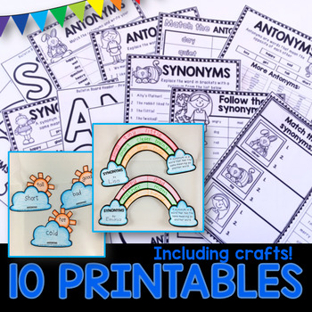 Synonyms and Antonyms PowerPoint and Printables for 1st, 2nd, and 3rd grade