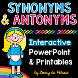 Synonyms and Antonyms PowerPoint and Printables for 1st, 2