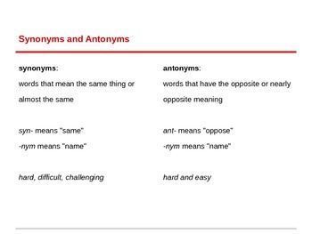 Synonyms and Antonyms Powerpoint for ESL