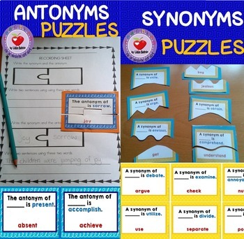 Synonyms and Antonyms Puzzles for Grades 3-5 BUNDLE