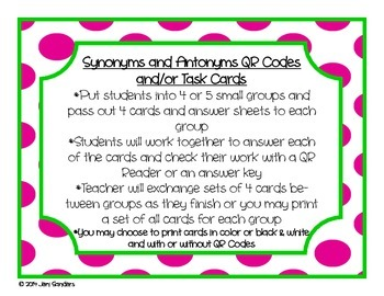 Synonyms and Antonyms QR Codes and Task Cards