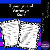 Synonyms and Antonyms Quiz