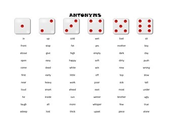 Synonyms and Antonyms - Roll-a-Dice Language Game