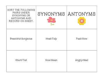 Synonyms and Antonyms SPRING Sorting Center with Recording Sheet