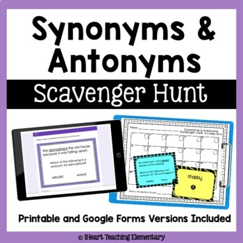 Synonyms and Antonyms Review- A Scavenger Hunt