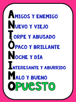 Spanish Synonyms and Antonyms/Sinonimos y Antonimos