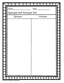 Synonyms and Antonyms Sort