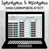 Synonyms and Antonyms Sort: Google Classroom Digital Activ