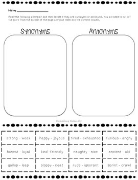 Synonyms and Antonyms Sort VA SOL 3.4b