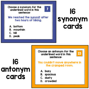 Synonyms and Antonyms Task Cards (Adv) | PDF and Digital | Distance Learning