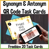 Synonyms & Antonyms Task Cards with QR Codes Self-Checking