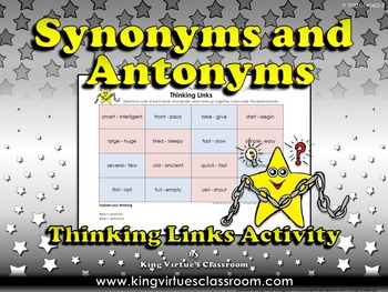 Synonyms and Antonyms Thinking Links Activity #2 - King Vi