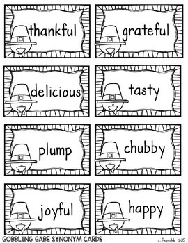 Synonyms and Antonyms--Turkey Talk Vocabulary Pack-Thanksgiving