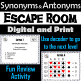 Synonyms and Antonyms: ELA Escape Room English (Vocabulary Game)