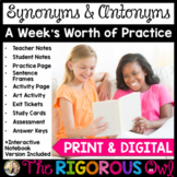 Synonyms and Antonyms Week Long Lessons Common Core Aligned