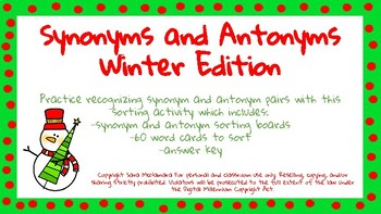 Synonyms and Antonyms: Winter Edition