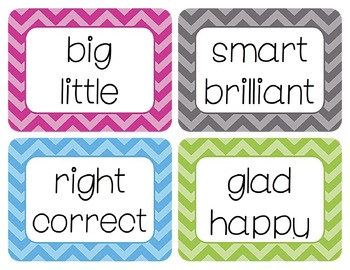 Synonyms and Antonyms Word Wall Cards Bundle