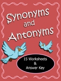 Synonyms and Antonyms Worksheets CCSS L.4.5c