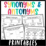 Synonyms and Antonyms Worksheets