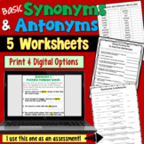 Synonyms and Antonyms Worksheets (Basic)