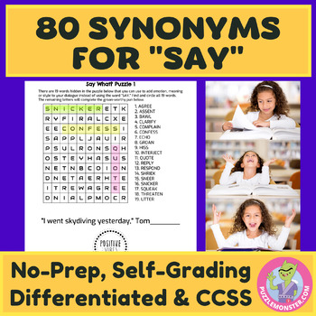 Synonyms Worksheets | Synonyms for Say | Alternatives to Said | Said is Dead